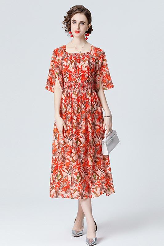 Women's Printed Midi Dress Short Sleeve Floral Silk Party Dress (T061001)