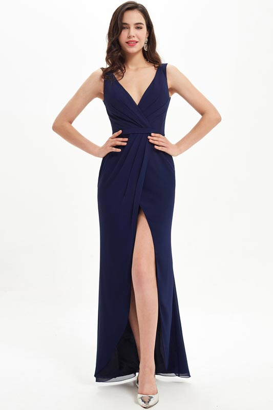 eDressit Navy Blue V-Cut High Slit Wedding Bridesmaid Dress (07214105)