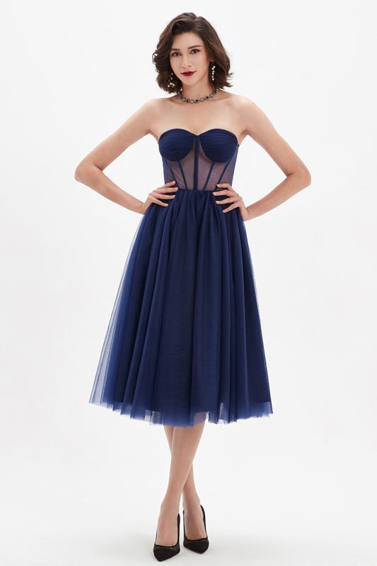 eDressit Blau Korsett Polyester Knochen Tüll Partykleid(04210405)