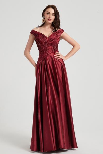 eDressit Sexy Burgundy V-Cut Neck Pleated Elegant Top Party Ball Dress (00200417)