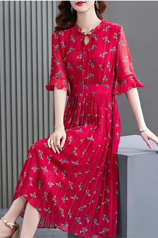 New Red Floral Print Mid Sleeves Summer Holiday Chiffon Dress (T061023)