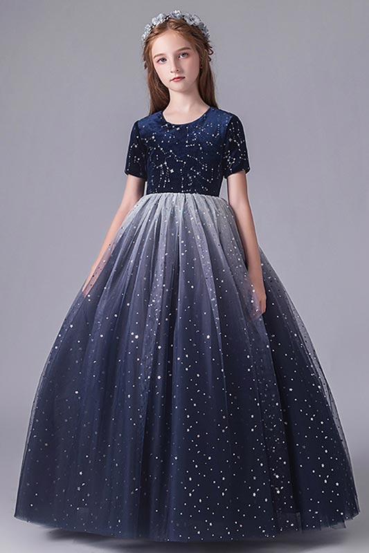 Blue Sequins Sleeves Tulle Wedding Flower Girl Dress (27211605)