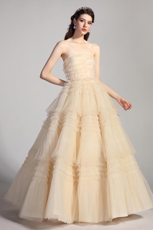 eDressit Beige Twist Corset Fitted Bodice Tiered Party Evening Dress (02205114)