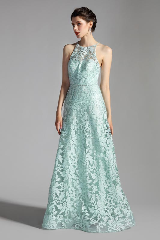 eDressit Green Halter Lace Appliques Elegant Party Evening Dress (00208104)