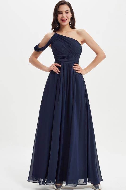 eDressit Dark Blue Unique One Off Shoulder Party Bridesmaid Dress (07211405)