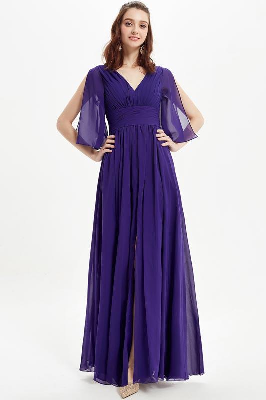 eDressit Purple V-Cut Open Sleeves Bridesmaid Dress (07216906)