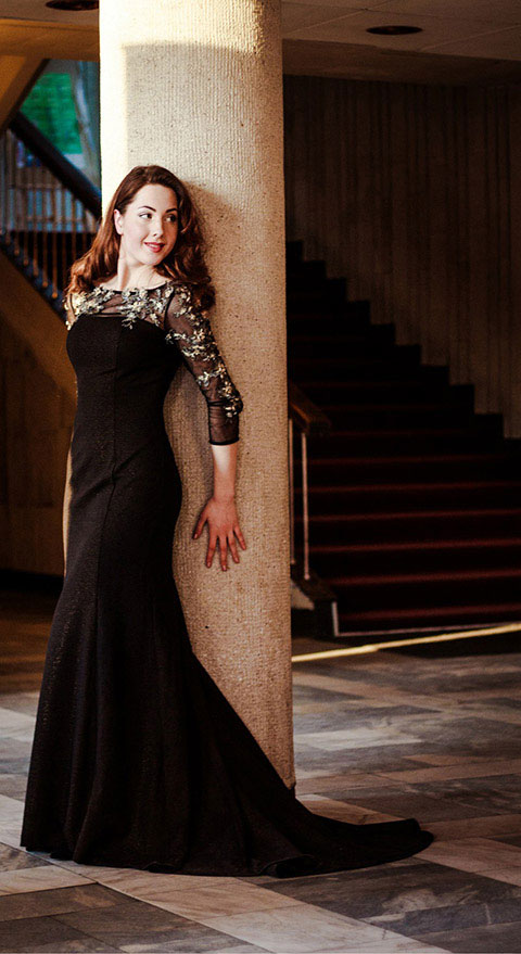 Black Sheer Top Tulle Sleeves Prom Gown