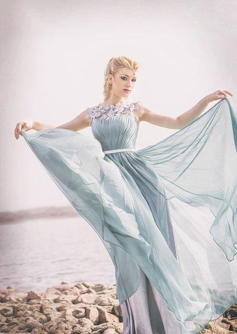 Sheer Top High-Slit Prom Dress