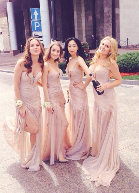 Amazing pink bridesmaid gown