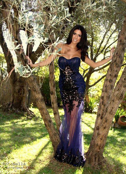 Navy Blue Sweetheart Sequin Evening Dress