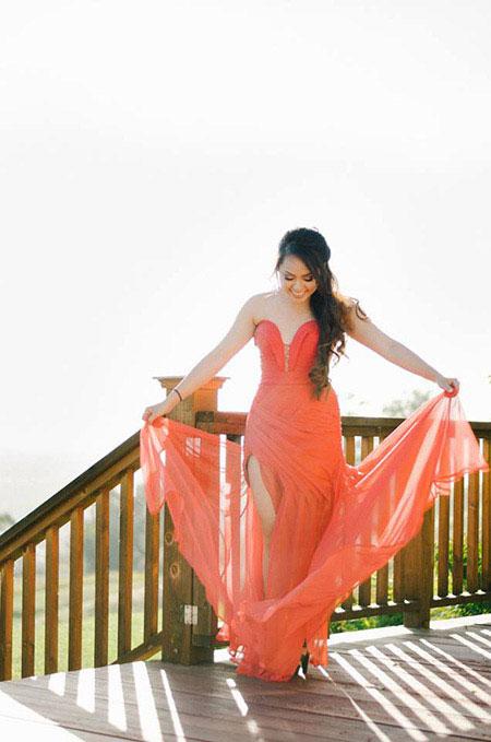 Custom Strapless Slit Coral Prom Dress