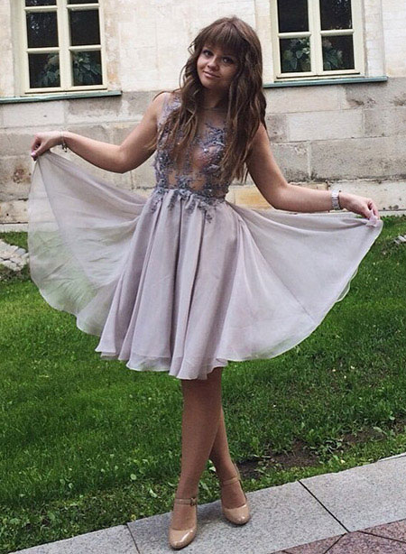 Round Neckline Tulle Cocktail Dress Party Dress