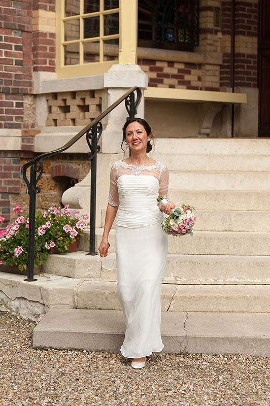 Sheer Beaded Top Half Sleeves Wedding Gown