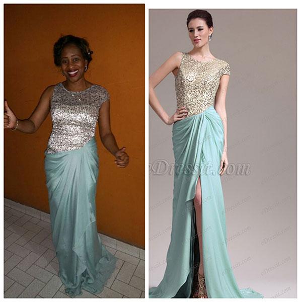 eDressit Short Sleeved Asymmetric sleeves Sequins Evening Dress