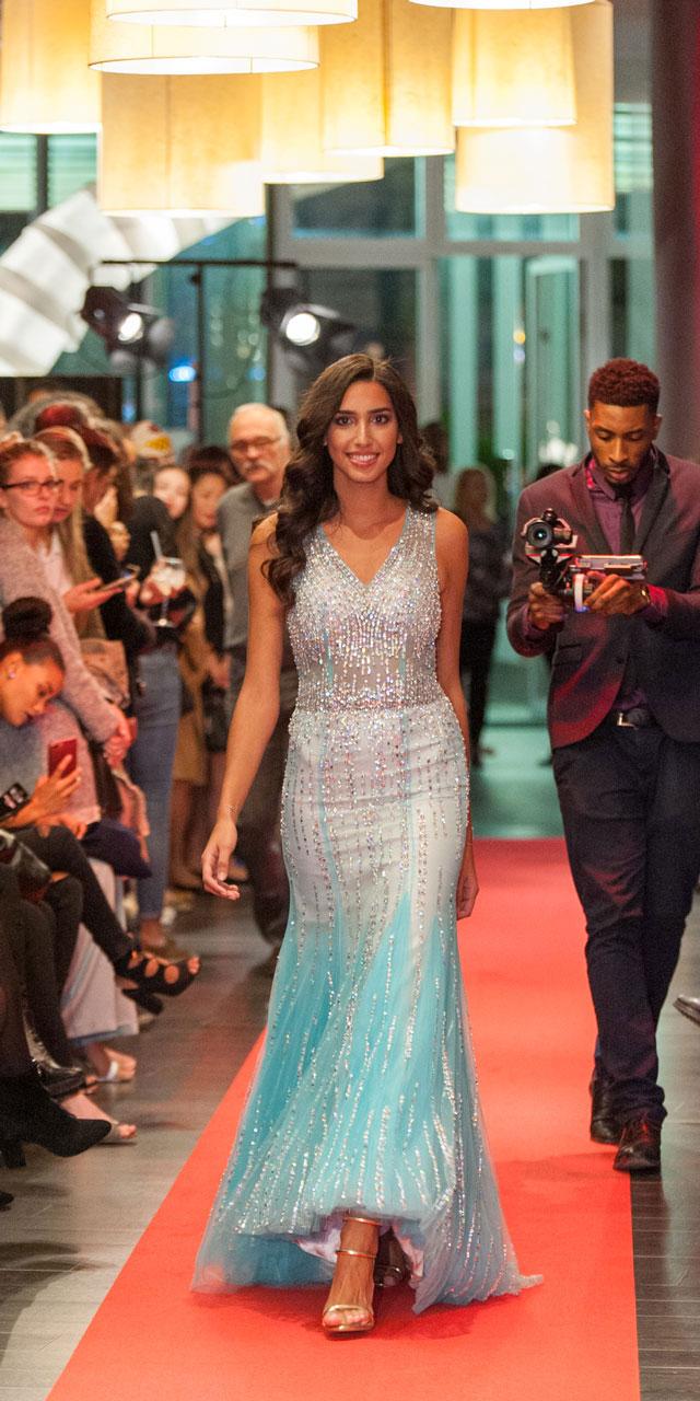 Beaded Blue Prom Dress, Red Carpet Formal Dress