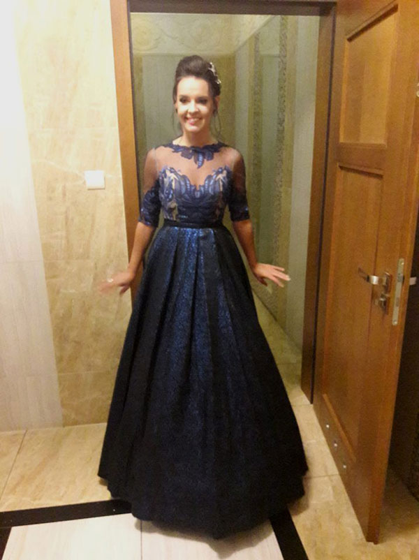 Blue Ball Gown With Decliate Details