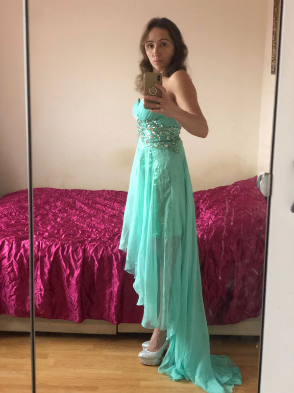 Strapless Green Evening Dress With High Low Skirt