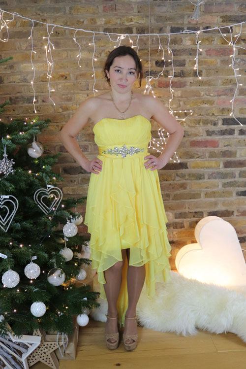 Strapless Prom Dress, Yellow Cocktail Dress for Christmas