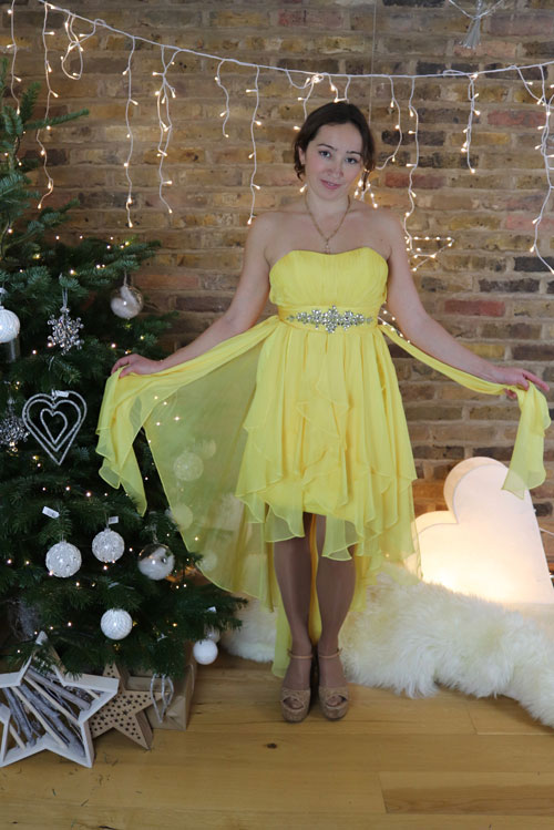 Strapless Prom Dress, Yellow Cocktail Dress High Low