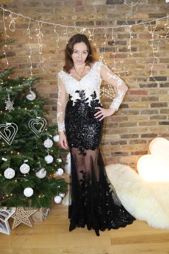 V Neck Prom Dress for Christmas and Wedding, Evening Dress