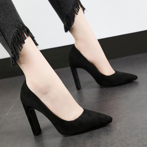 Suede High Chunky Black Heel Closed Toe Pumps Shoes