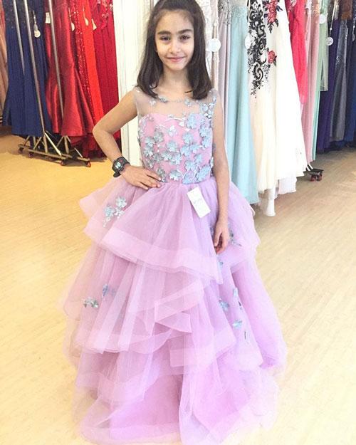 Princess Layered Skirt Lavender Flower Girl Dress