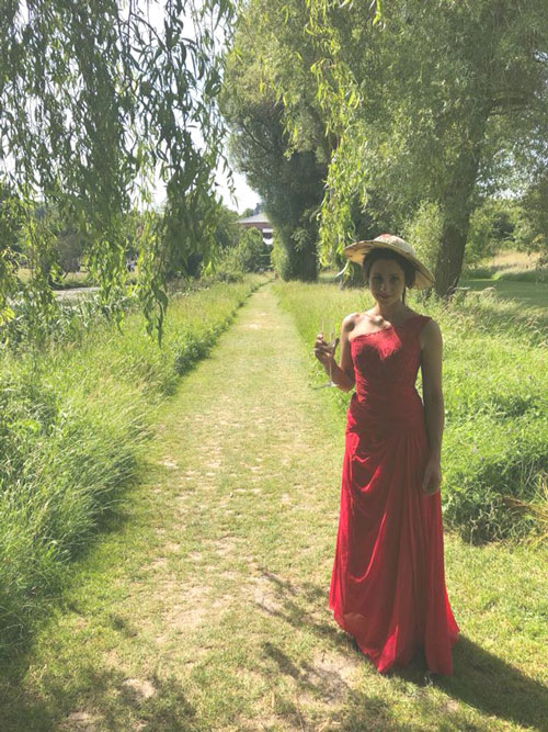 One Shoulder Red Evening Dress Formal Gown