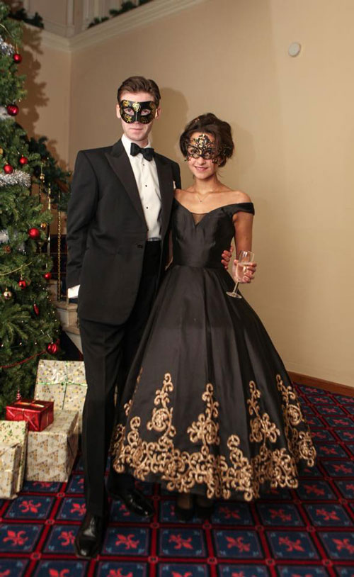 Black Evening Gown Off the Shoulder Neck