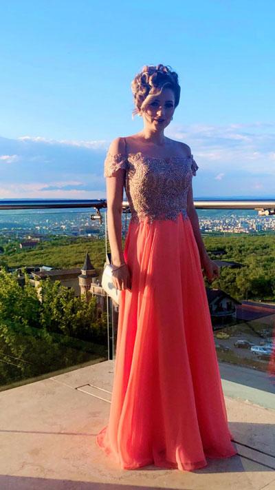 Off the Shoulder Coral Prom Dress