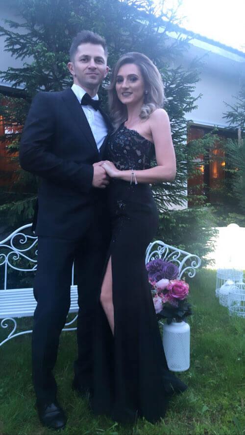 One Shoulder Slit Black Prom Dress