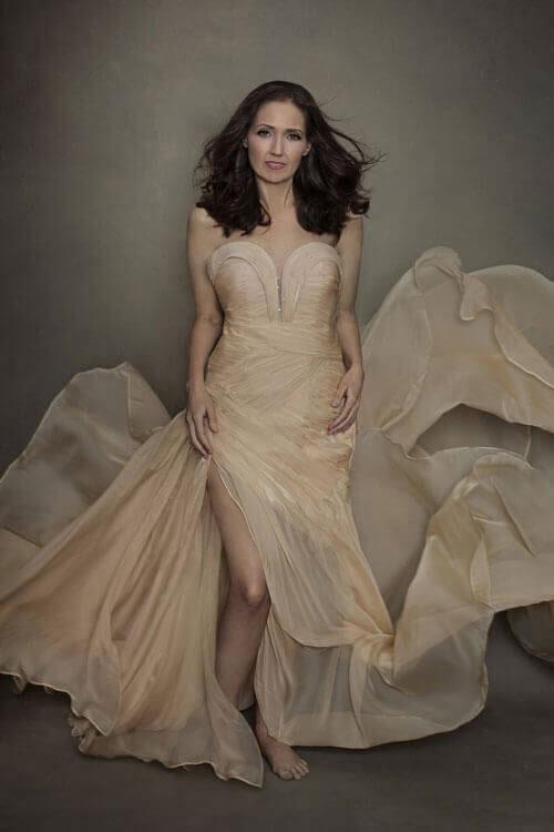 Strapless High Slit Prom Dress Beige