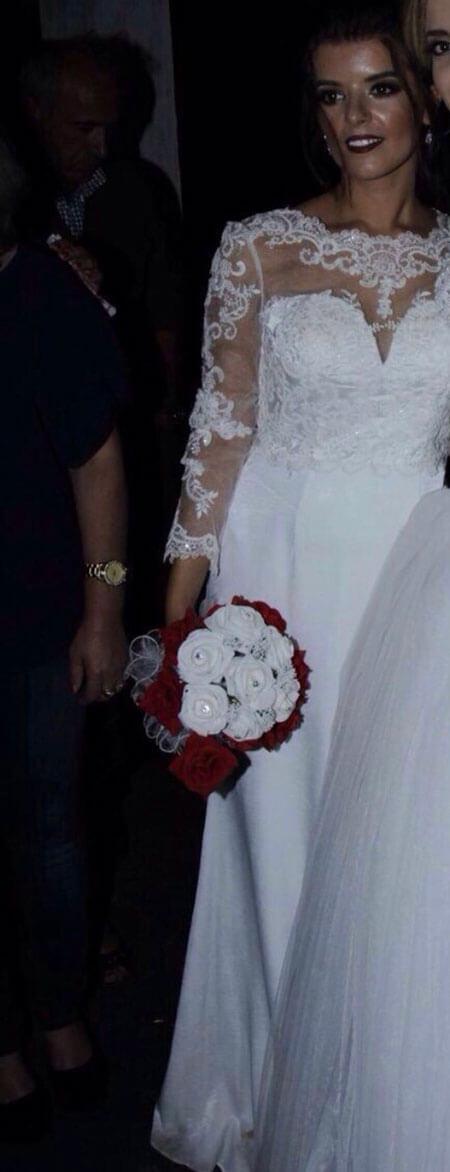 Long Sleeves Illusion Neck Wedding Dress