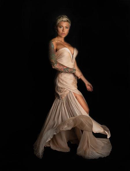 Strapless Beige Slit Dress for Prom