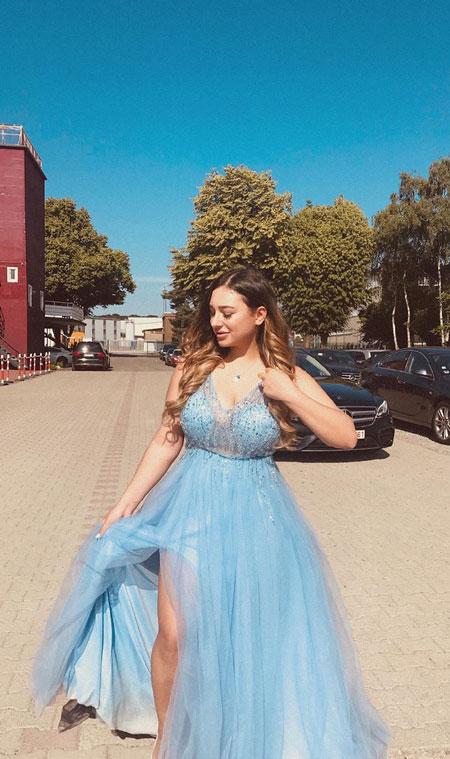 V Cut Blue Evening Dress With Slit