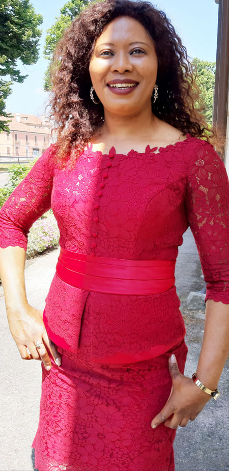 3/4 Sleeves Round Neck Two Pieces Red Lace Mother Dress