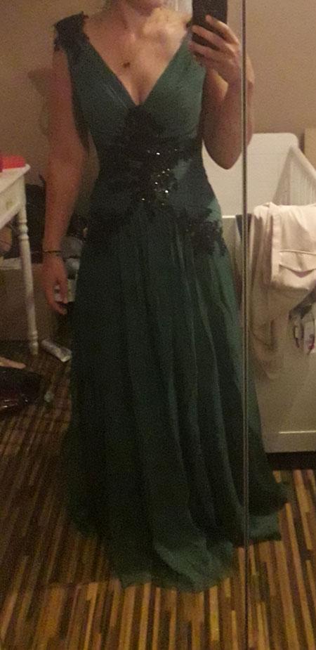 V Neck Dark Green Prom Dress A-line