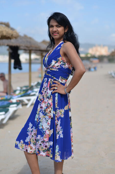 Sleeveless V Cut Short Printed Blue Dress