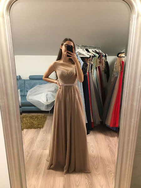 Illusion Light Grey Prom Gown A-line