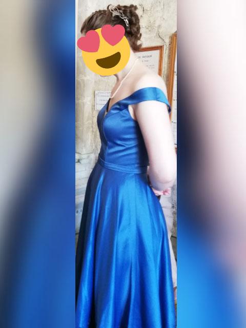 Off the Shoulder Blue Tea Length Prom Dress