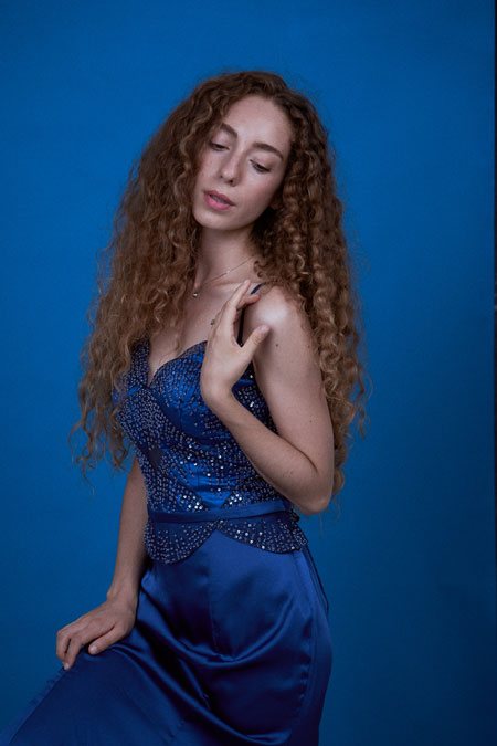 Spaghetti Straps Blue Prom Dress