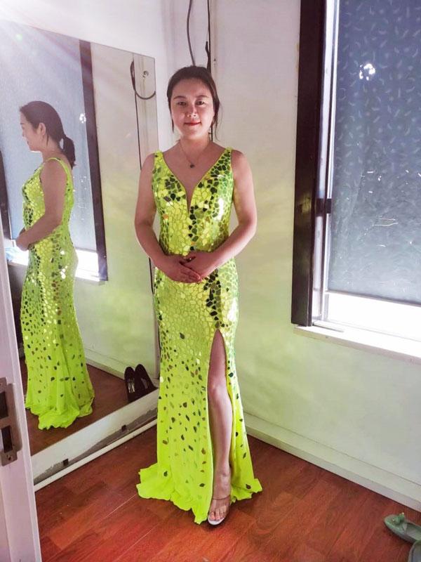 Gorgeous Green V-Cut High Slit Sparkle Evening Ball Gown Dress