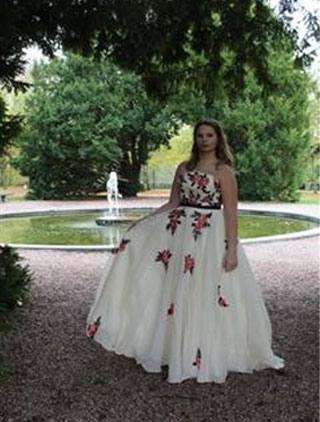 Vintage Strapless Embroidered Beige Ball Gown