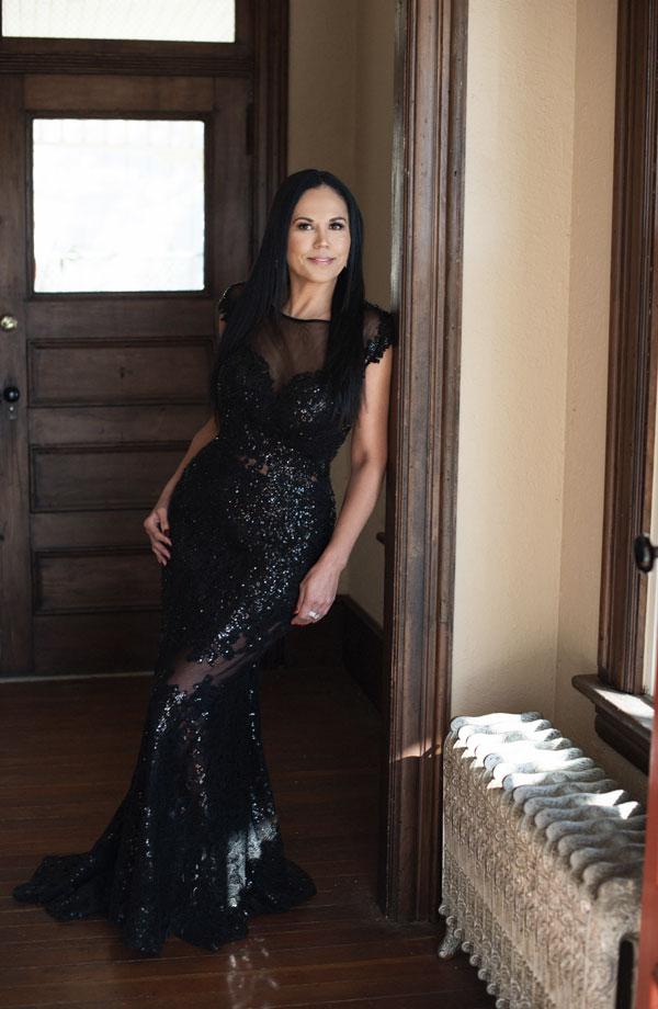 Carlyna Black Illusion Neckline Sequin Lace Appliques Formal Gown (E61000)